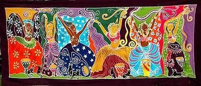 Dancing Goddesses Balinese Batik Rayon Wall Hanging Banner