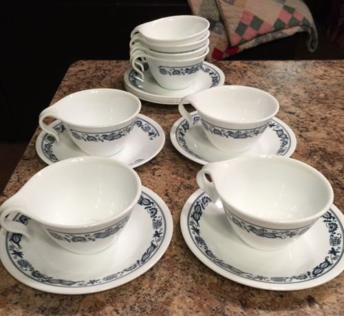 8 Cups & Saucers Blue & White Corelle Dishes