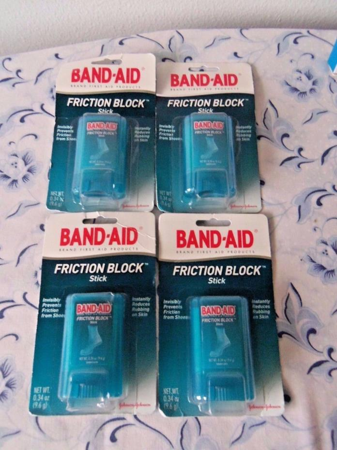 4 BAND-AID FRICTION BLOCK STICK INSTANTLY REDUCES RUBBING ON SKIN 0.34oz ea