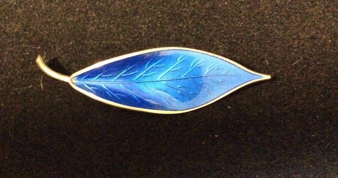 VINTAGE NORWAY STERLING BLUE LEAF ENAMEL PIN