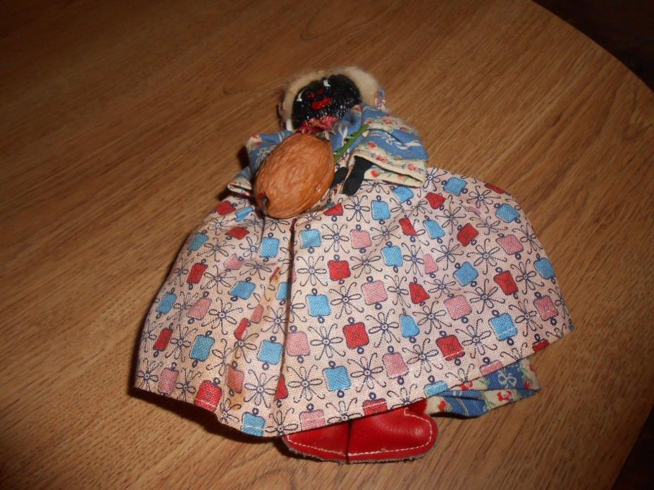 Vintage Handmade Black Americana Handmade Walnut Head Doll