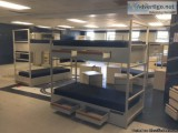 Military heavy metal bunkbeds with drawers, matress free