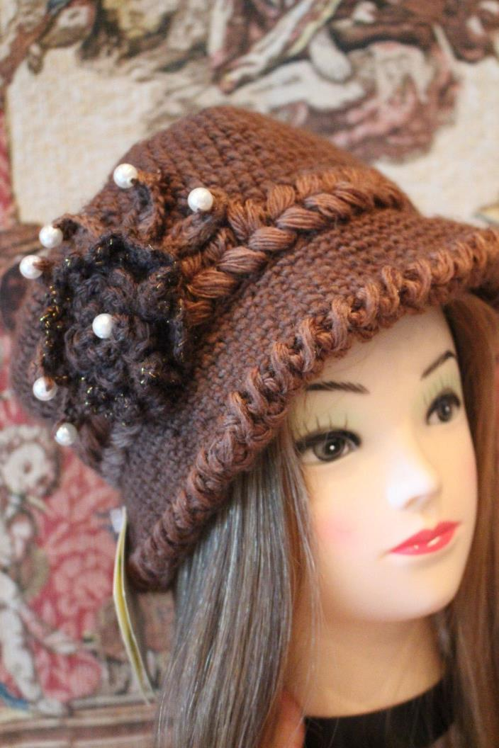 Brown Knit Hat from Ireland - Knitted Pearl - Ladies View Industries