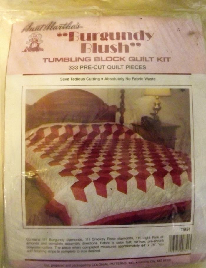 Vintage Quilt Kit Aunt Martha's Burgandy Blush Tumbling Block 64
