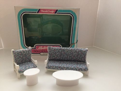 Doll House Furniture: Handi Craft Modern Living Living Room Set NEW 1:16 US Made