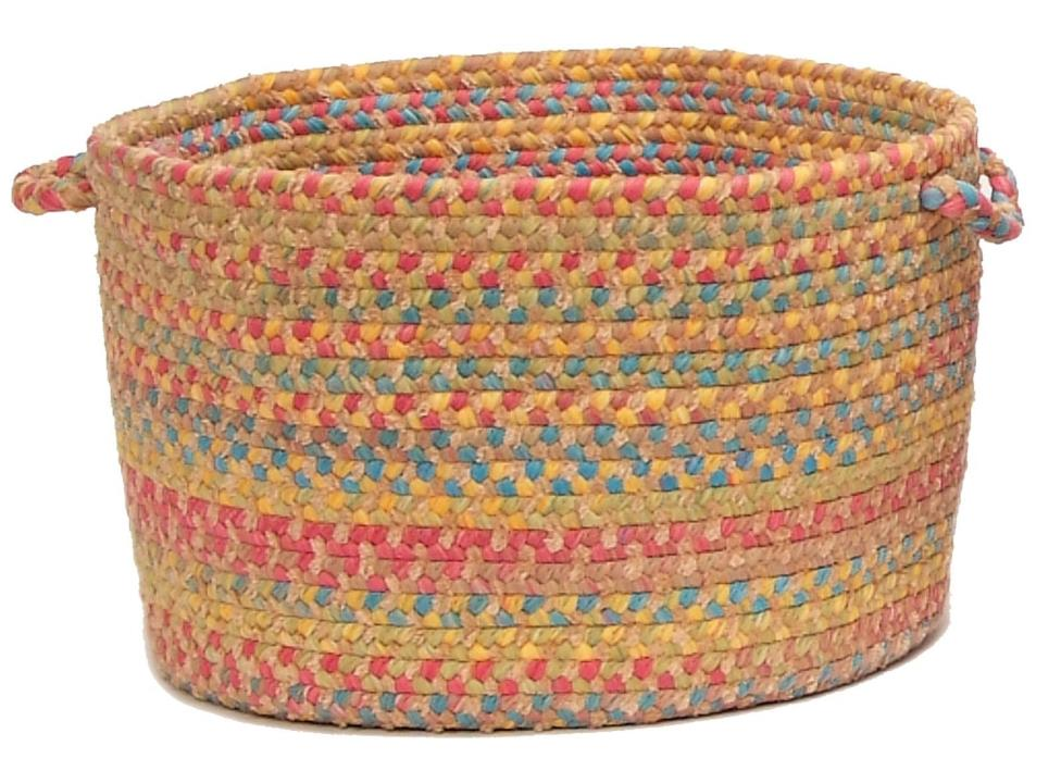 Tropical Garden Round Braided Utility Storage Basket, Sand ~ Made in USA