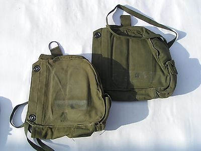 (2) VINTAGE MILITARY PROTECTIVE FIELD GAS MASK BAGS M17