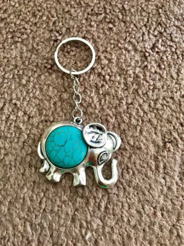 Good Luck Elephant Charm Key Chain W/ Blue Turquoise Gemstone Brand New