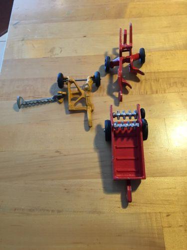 Vintage Metal Farm Toy Spreader, Mower, And 2 Bottom Plow