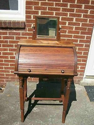ANTIQUE ROLL TOP SECRETARY DESK