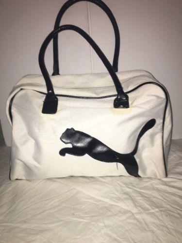 Puma White Black Trim Polyester Duffle Bag
