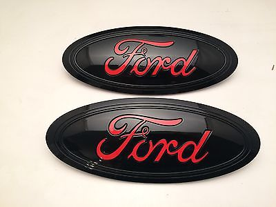 2015-16-2017 FORD F-150 BLACK & RACE RED LOGO SET,GRILLE & TAILGATE,CUSTOM PAINT