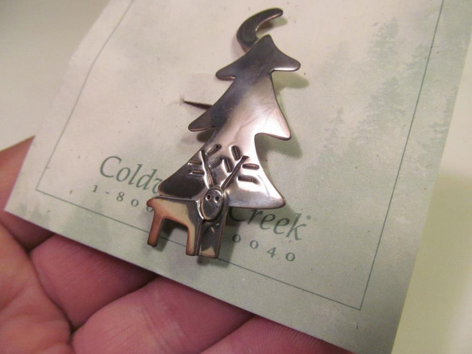 *NEW Coldwater Creek Sterling Silver Pine Tree Deer Moon Pin Brooch Mexico