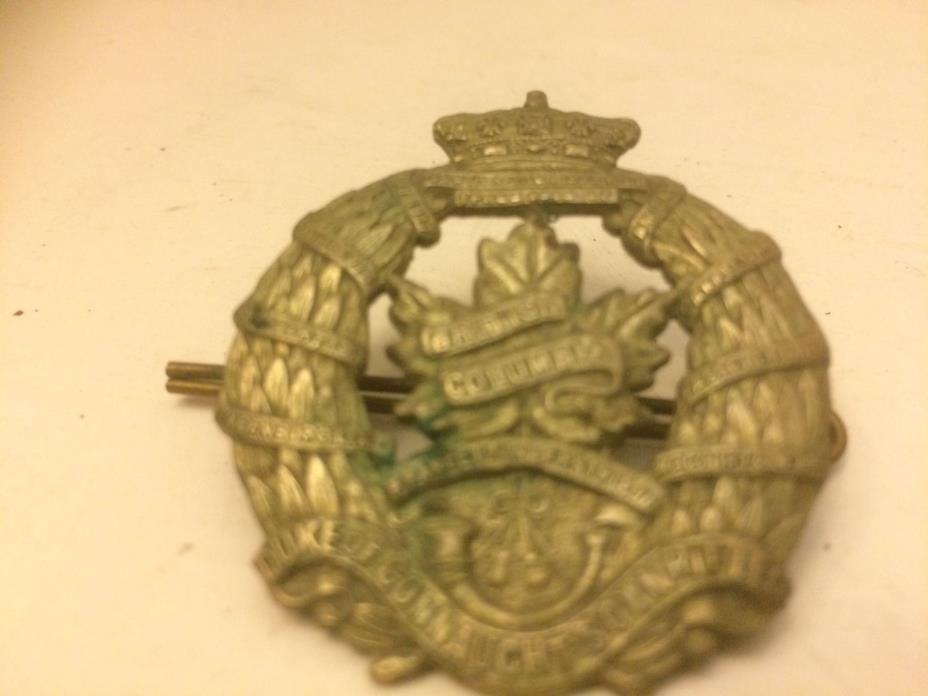 Canadian British Columbia Hat Badge Duke of Connaught WWII