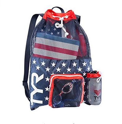 TYR Big Mesh Mummy Backpack for wet swimming gear Draw String USA red navy