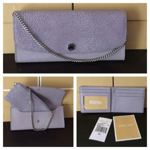 Michael Kors Women's Lilac Juliana Large 3-in-1 Saffiano Leather Wallet Clutch