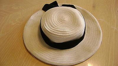 Adorable Childs Straw Hat with Black Velvet Ribbon