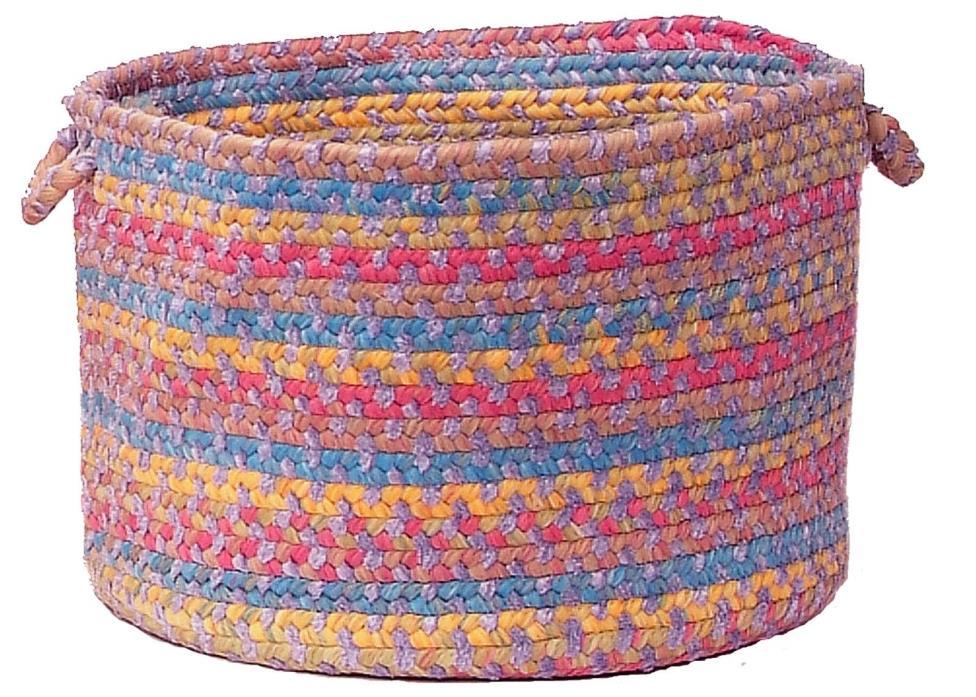 Tropical Garden Round Braided Utility Storage Basket, Amethyst ~ Made in USA