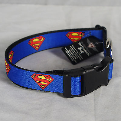 Authentic DC COMICS SUPERMAN Emblem shield Logo Blue Dog Pet Collar S NEW