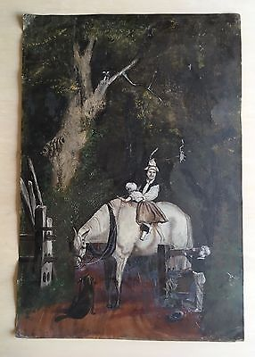 ANTIQUE PAINTING ON TIN SHEET BY ALBERT MOORE
