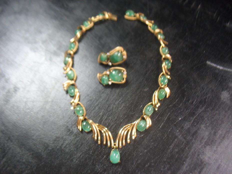 VINTAGE 14K YELLOW GOLD AND EMERALD NECKLACE AND 14K  MATCHING EARRING SET