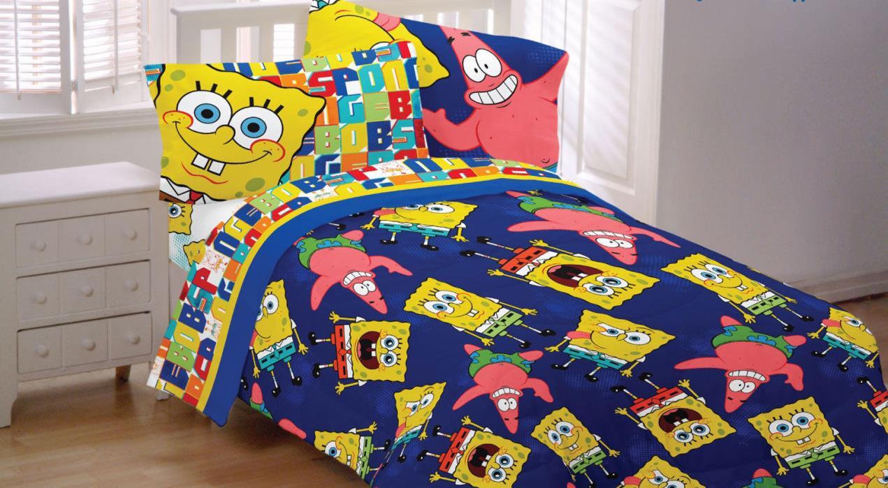 SpongeBob Patrick Twin/Full Reversible Comforter Sheets Set ,22'' Plush Pillow