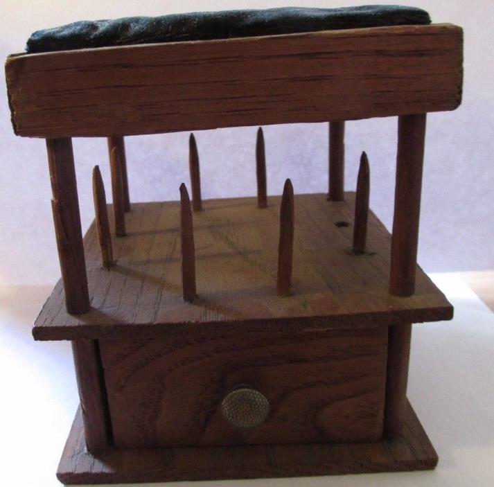 Thread Holder Antique Wooden Rare Pin Cushion