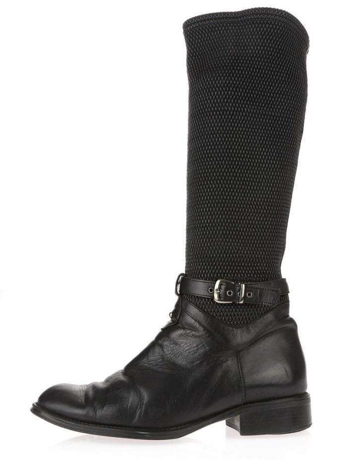 Womens AQUATALIA ODILIA Black Leather Knee High Boots Sz. 40 $495