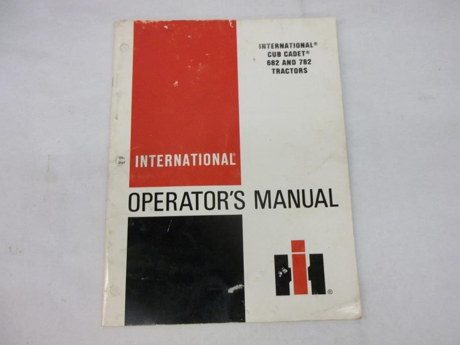 Cub Cadet 682 782 Tractors Operators Manual