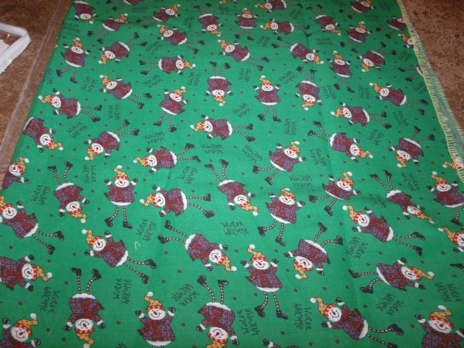 Vintage WELCOME WINTER SNOWMAN Fabric 1 Yard Oakhurst Textiles