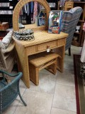 Wicker Vanity and Bench