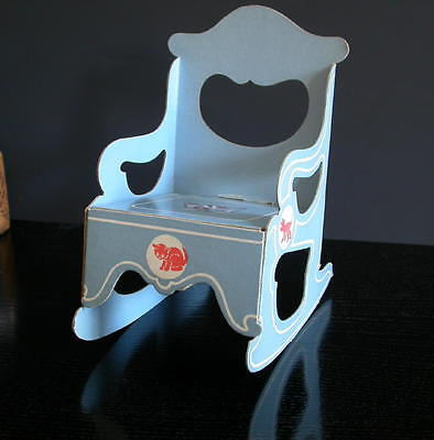 Vintage Baby Blue & Red Cats Cardboard DOLL FURNITURE ~ Rocking Chair