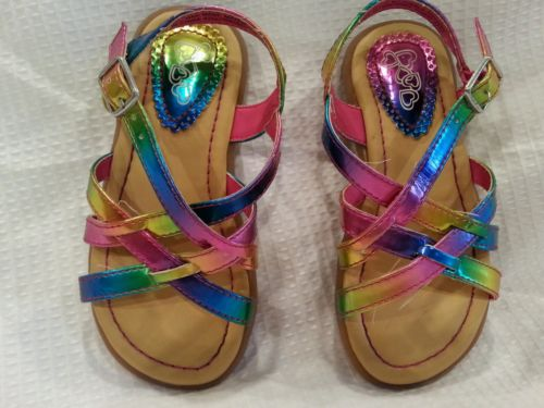 Childrens Place Toddler Girls Size 8 Sandals Multi Color Rainbow