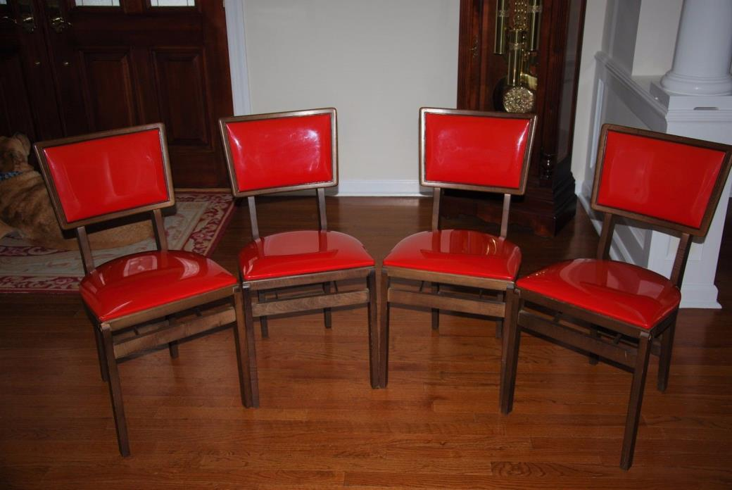 4 - Stakmore Vintage Red Vinyl Mid Century Modern Design Folding Chairs