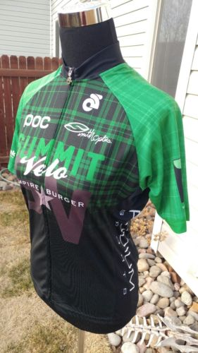 Champ-Sys Full Zip Green Black Cycling Bike Jersey Women's Large With 3 Pockets