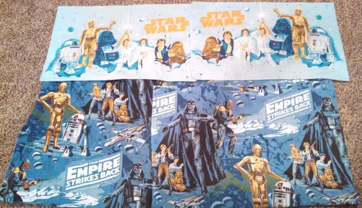 1979 Star Wars Empire Strikes Back Twin Sheet Set +2 1977 Star Wars Pillowcases