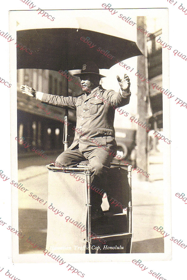 HONOLULU HAWAII TRAFFIC COP rppc Real Photo Postcard