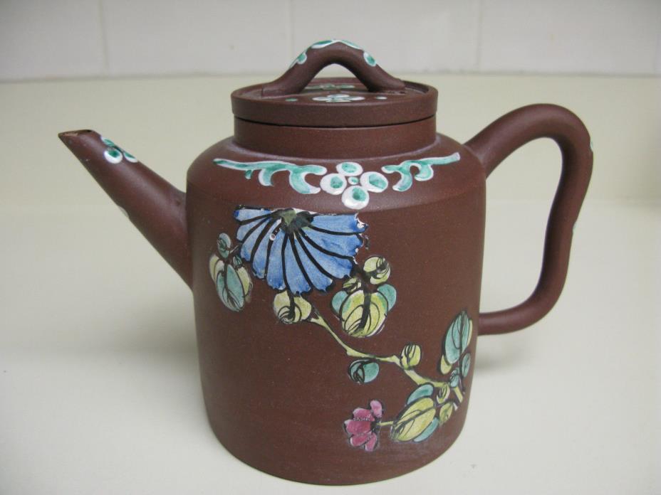 Antique Vintage Chinese Yixing Zisha with Enamel Flowers Teapot Marked