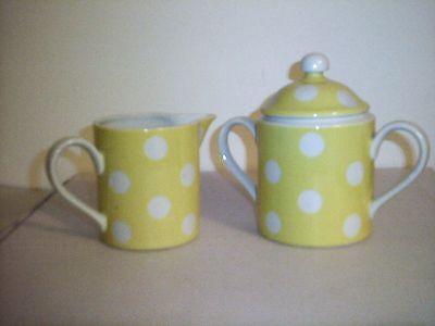 Fitz & Floyd Polka Dot Yellow Creamer & Sugar
