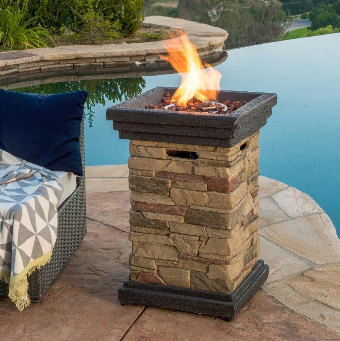 Outdoor Fireplace Patio Heater Backyard Fire Pit Deck Propane Gas Stone Column