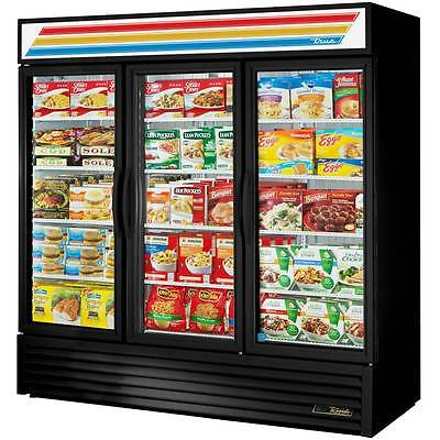 True Black Three Door Merchandiser Freezer LED Lighting