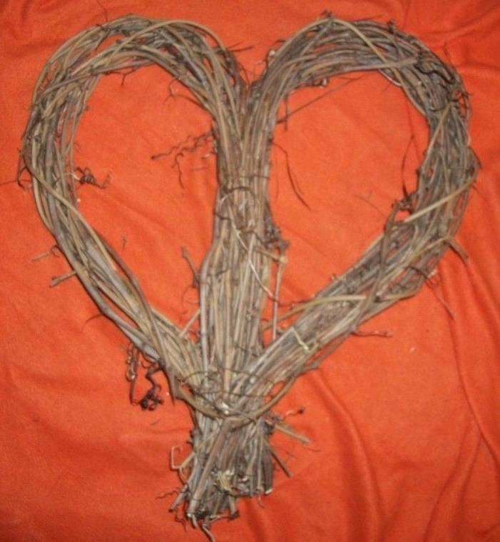 Large 20 Inch Grapvine Heart Shaped Wreath Natural Grape Vine Twig Ozark Crafts