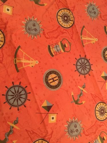 Vtg Cotton Barkcloth Nautical Fabric (Ship's Wheel Anchor Lantern Compass)