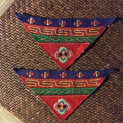 Pair of vintage embroidered Tibetan fabric patches