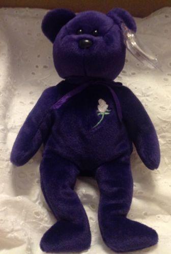 Ty Original Mint 1st Edition Princess Diana 1997 Retired Beanie Baby Purple Rare