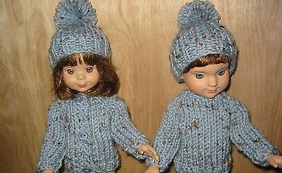 Hand Knit Clothes Blue Two Sweater Fits 14