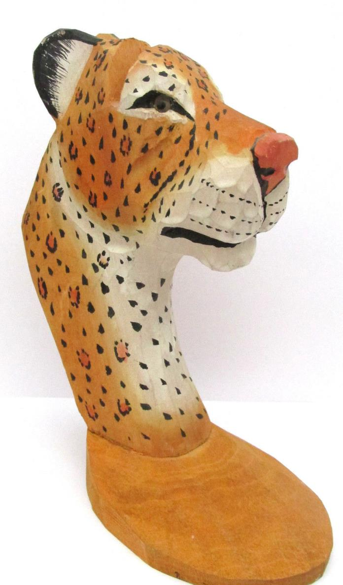 Carved Wood Leopard Cheetah Eye Glass Holder