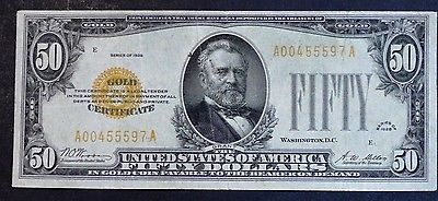 FR-2404 1928 SERIES $50 FIFTTY DOLLAR GOLD CERTIFICATE VERY FINE SEMI LOW SERIAL