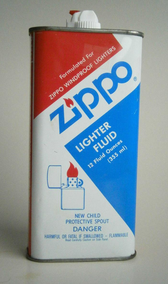 Vintage ZIPPO Lighter Fluid 12 Ounce Can - Red White And Blue - NICE