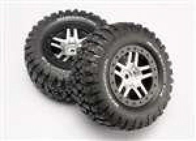 Traxxas TRA6873 Chrome Wheels-Mud Terrain Tires Assembled Slash 4x4. Free Shippi